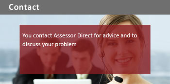 You contact Assessor Direct for advice and to discuss your problem
