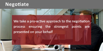 We take a pro-active approach to the negotiation process ensuring the strongest points are presented on your behalf