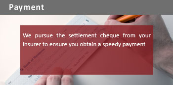 We pursue the settlement cheque from your insurer to ensure you obtain a speedy payment